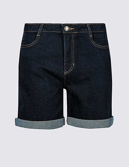 Mid Rise Denim Shorts