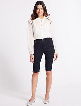 Spotted Denim Shorts