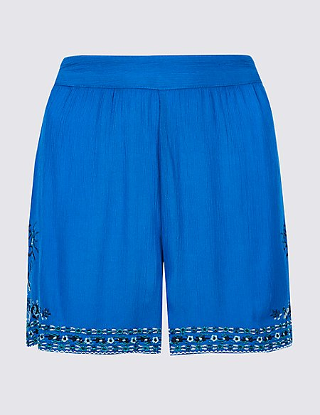 Embroidered Casual Shorts