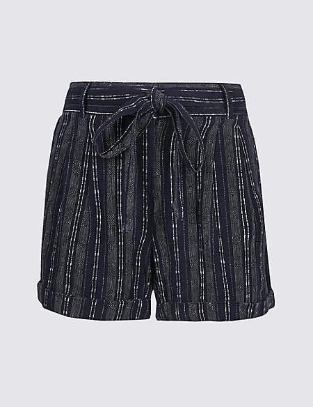 Linen Rich Striped Casual Shorts