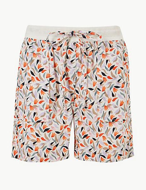 Linen Rich Floral Print Casual Shorts
