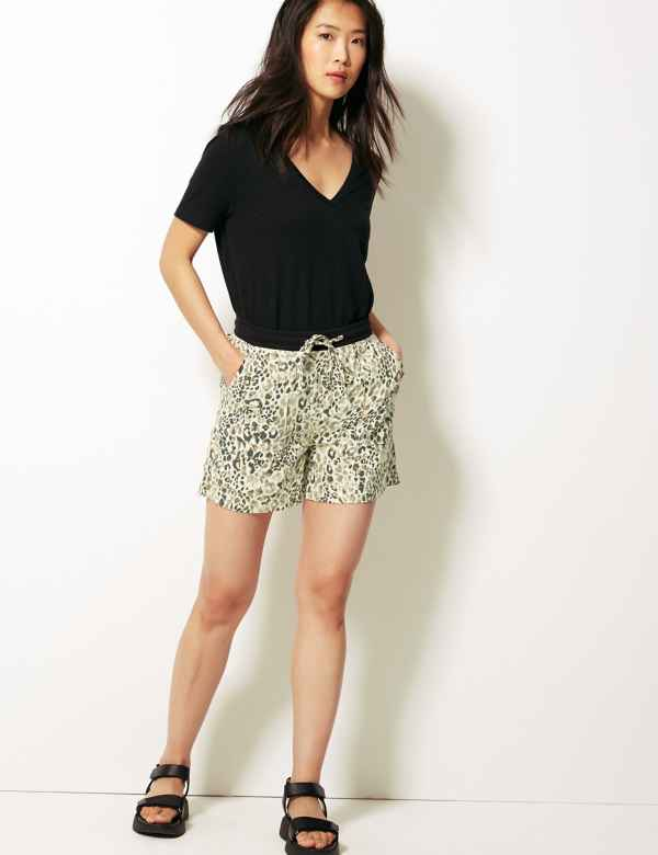 58e225cf94 Animal Print Linen Rich Shorts