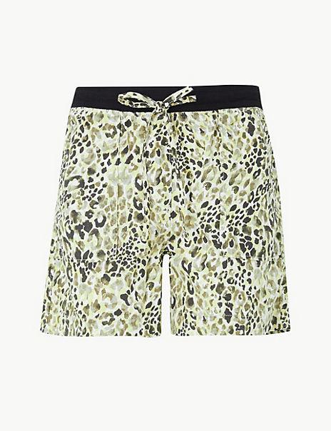 Animal Print Linen Rich Shorts