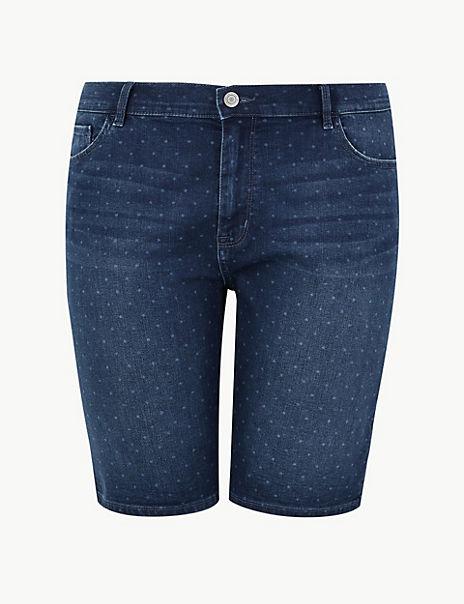 CURVE Polka Dot Denim Shorts