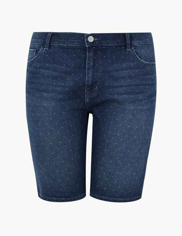 8e5e7a11e6f CURVE Polka Dot Denim Shorts