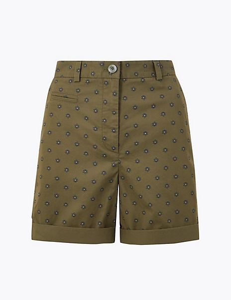 Cotton Flower Motif Shorts