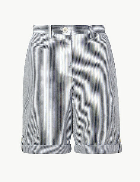Cotton Rich Striped Longer Casual Shorts
