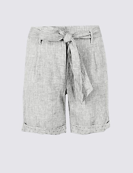 Pure Linen Textured Casual Shorts