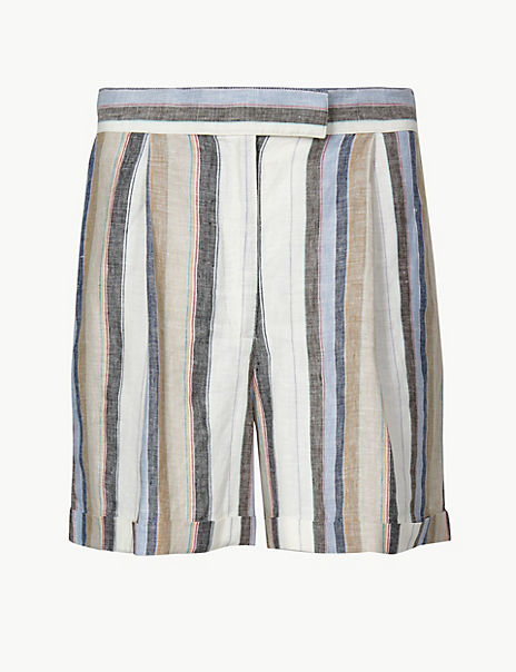 Pure Linen Striped Shorts