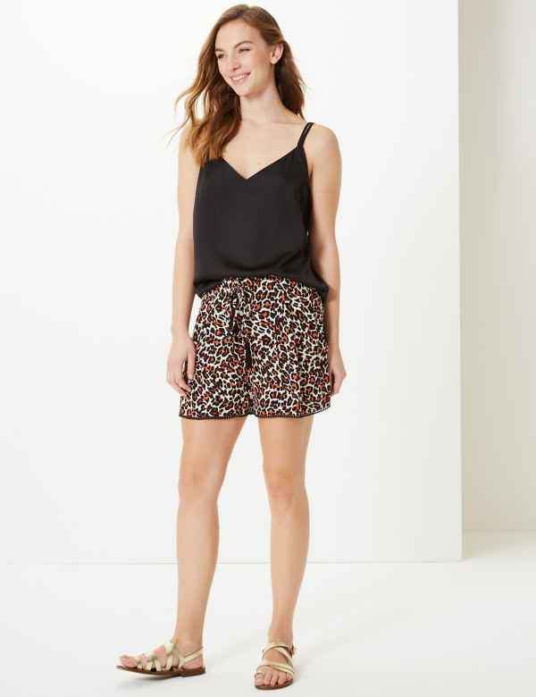 f22d1bb4b7 Animal Print Casual Shorts