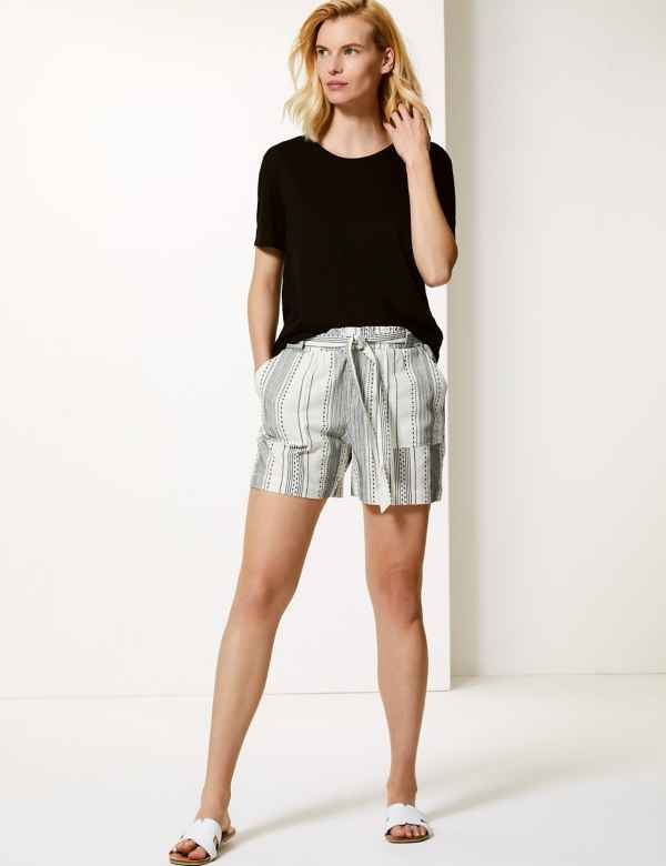 efe98efe70 Pure Cotton Striped Casual Shorts