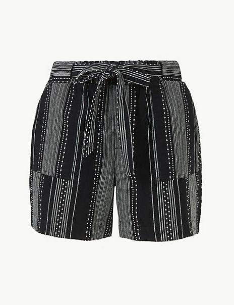 Pure Cotton Striped Casual Shorts