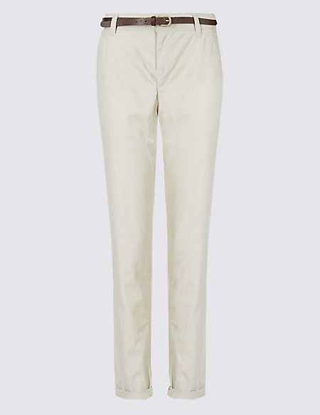 Pure Cotton Straight Leg Chinos with Belt