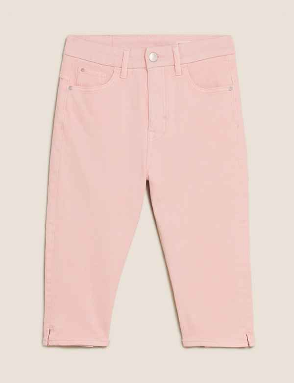 BELTED 20 LONG BNWT M/&S CROPPED WIDE LEG PALE PINK  PANTS