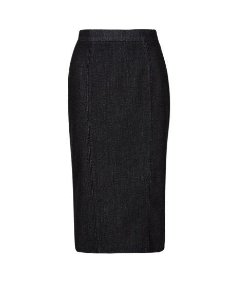 Cotton Rich X-FIT Seam Knee Length Pencil Skirt