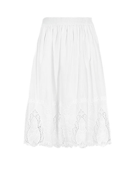 Cutwork A-Line Skirt