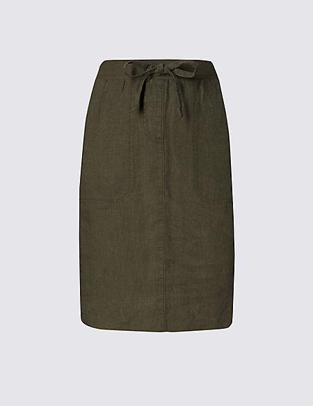 Pure Linen Garment Dye Straight Skirt