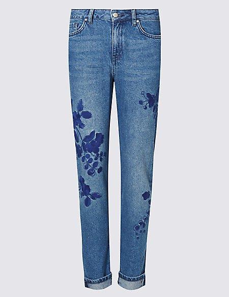 Floral Embroidered Boyfriend Jeans