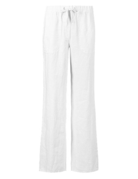 Pure Linen Wide Leg Trousers navy Marks and Spencer