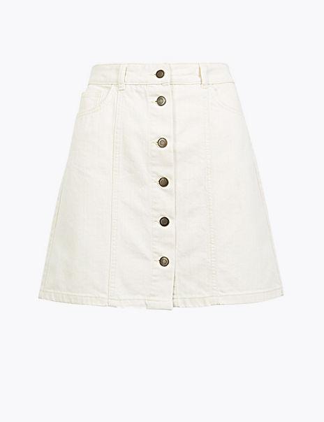 Denim A-Line Mini Skirt