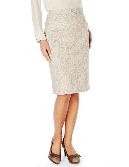 Knee Length Floral Lace Jacquard Pencil Skirt