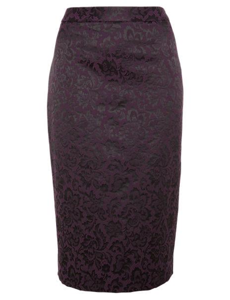Jacquard Floral Lace Pencil Skirt