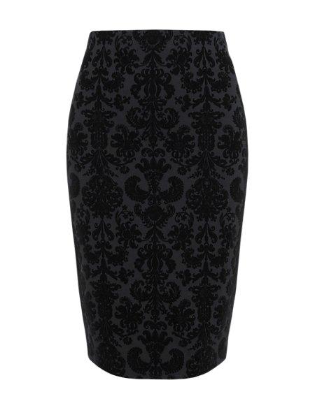 Knee Length Flocked Ponte Pencil Skirt