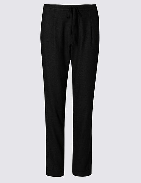Linen Blend Tapered Leg Trousers