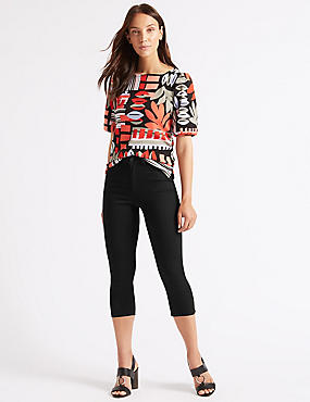 Mid Rise Super Skinny Leg Cropped Jeans