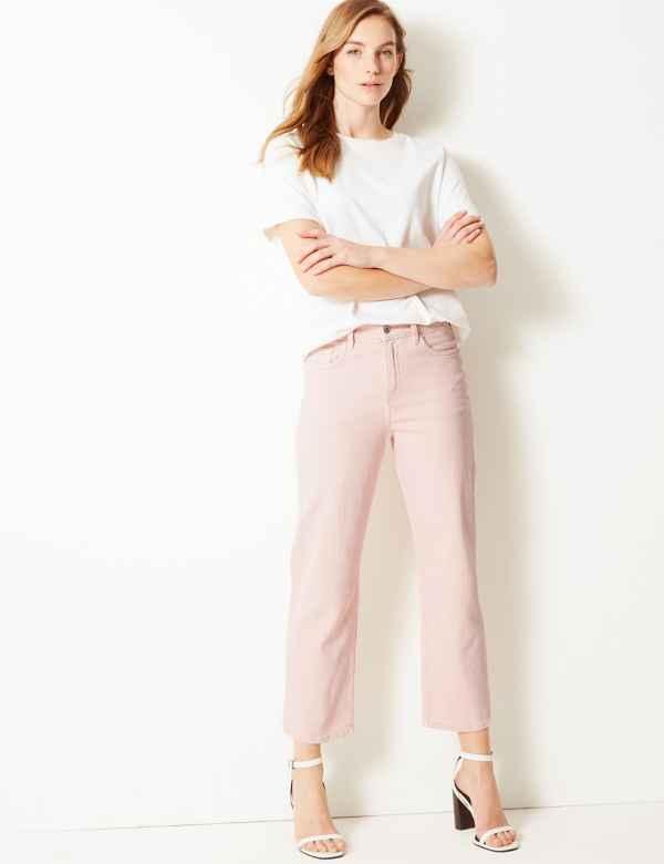 5edbf67042e High Waist Straight Leg Cropped Jeans