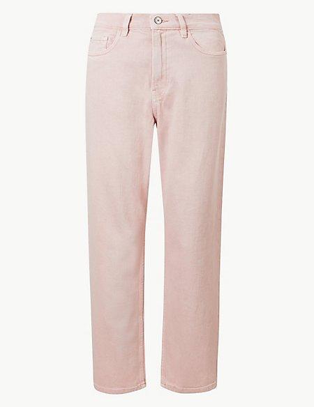 High Waist Straight Leg Cropped Jeans