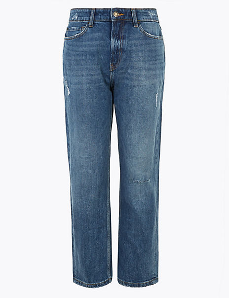 Straight Fit Distressed Ankle Grazer Jeans
