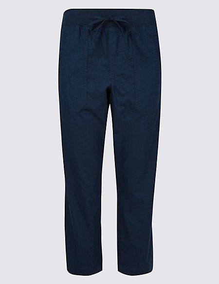 Pure Cotton Cropped Trousers