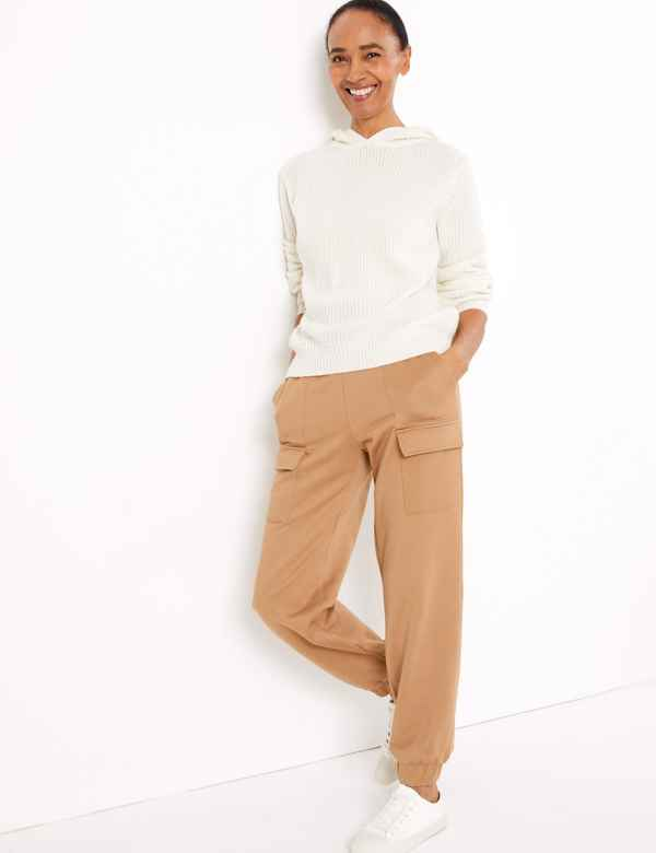 clp60380786: Cotton Rich Cargo Ankle Grazer Trousers