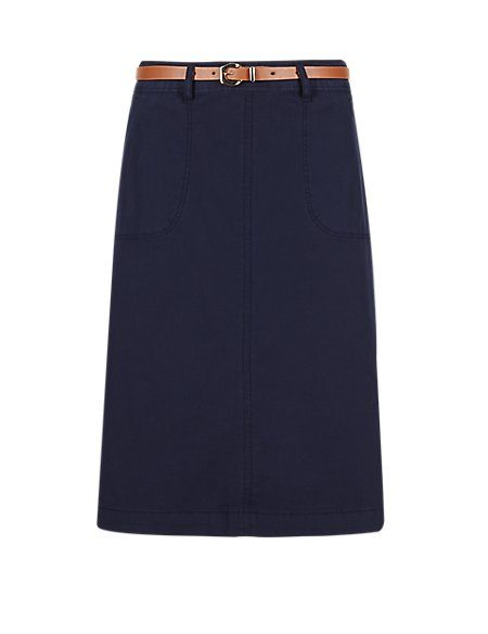 Cotton Rich Belted Pencil Skirt
