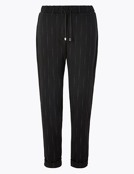 Herringbone Tapered Ankle Grazer Trousers