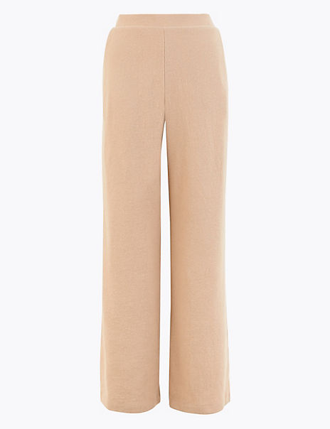 Wide Leg Cotton Blend Soft Ribbed Trousers