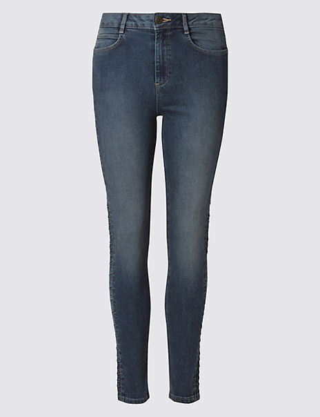 Side Plait Skinny Leg Jeans