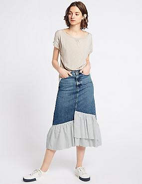 Pure Cotton Striped Frill Denim Midi Skirt