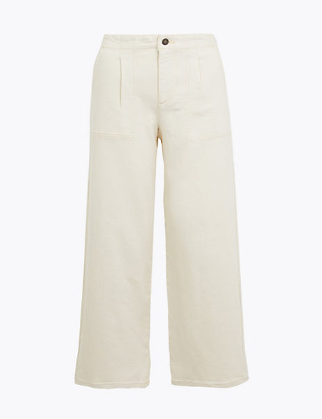 Utility High Waist Wide Leg Cropped Jeans