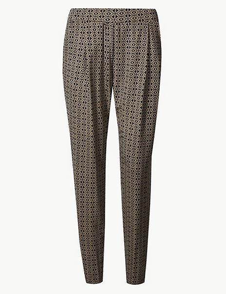 Geometric Print Jersey Peg Trousers