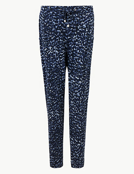Printed Jersey Ankle Grazer Peg Trousers