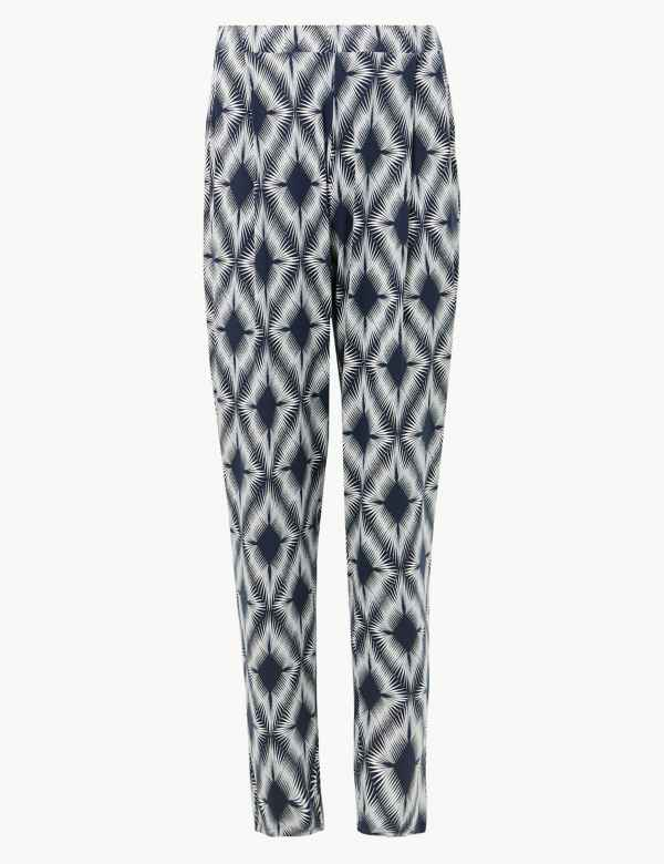 M /& S Tapered Leg Patterned Pull On Trousers With Stretch Size 28 Medium New