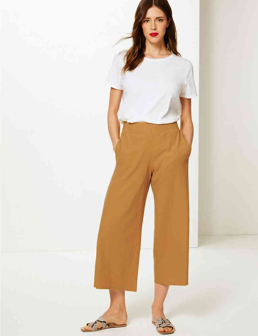 4cfe88a5235 Textured Wide Leg Jersey Cropped Culottes