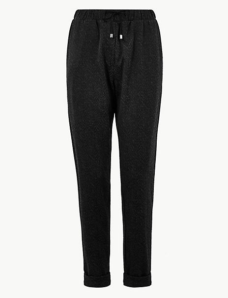 Chevron Textured Tapered Ankle Grazer Trousers