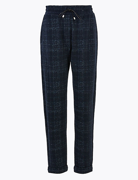 Checked Straight Ankle Grazer Trousers