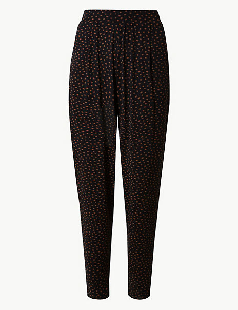 Tapered Leg Jersey Ankle Grazer Peg Trousers