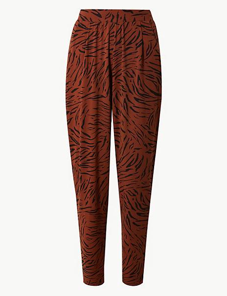 Animal Print Jersey Peg Trousers