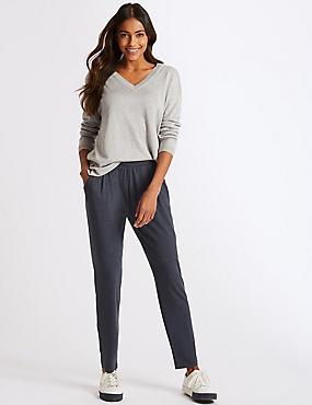 Marl Jersey Tapered Leg Peg Trousers