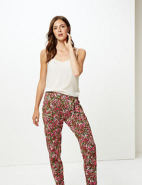 Leaf Print Mid Rise Tapered Peg Trousers